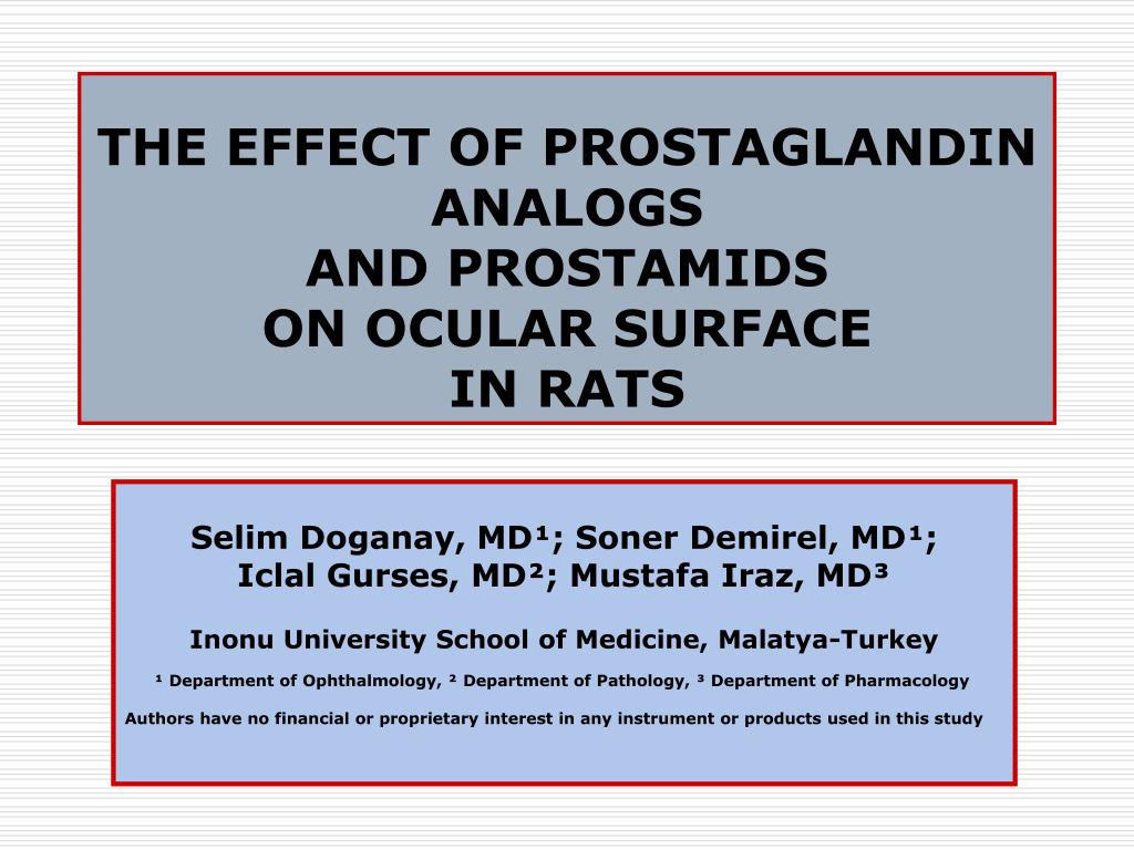 the effect of prostaglandin analogs and prostamids on ocular surface in rats l.