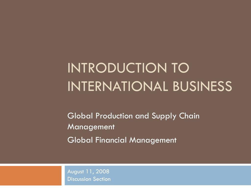 introduction to international business l.