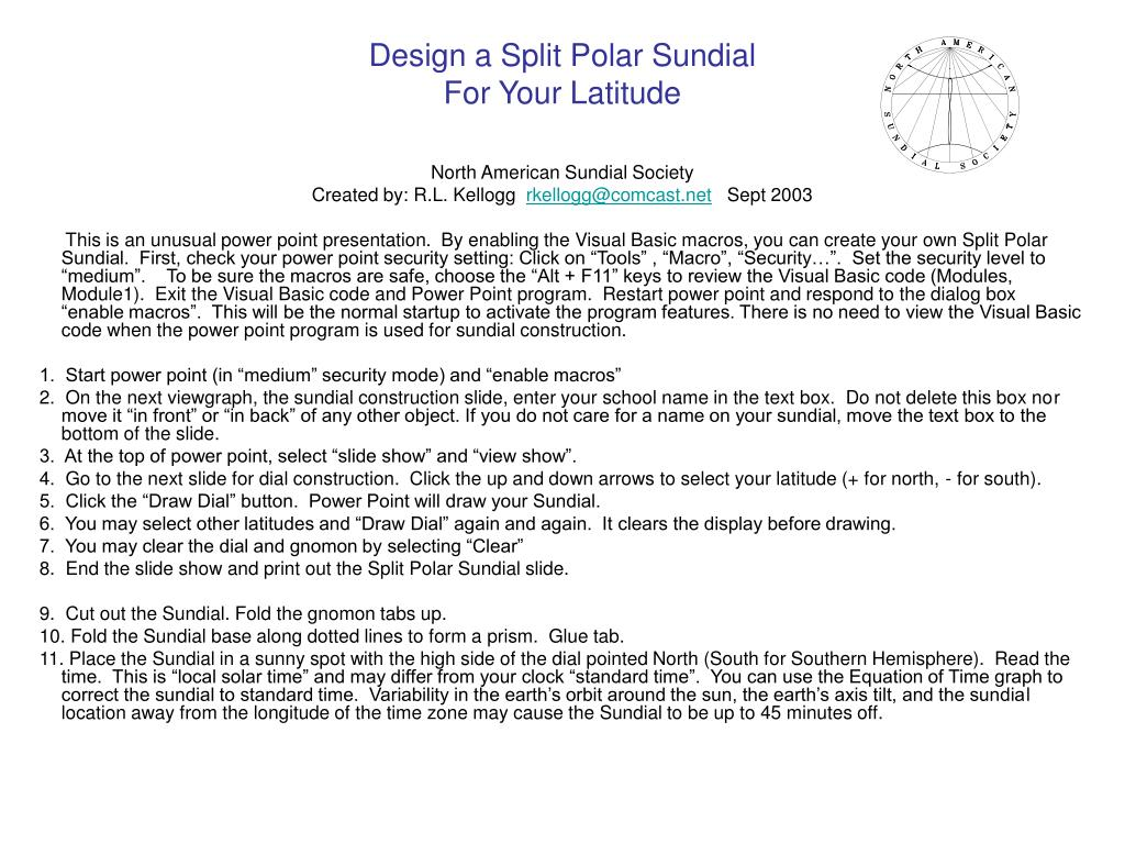 design a split polar sundial for your latitude l.