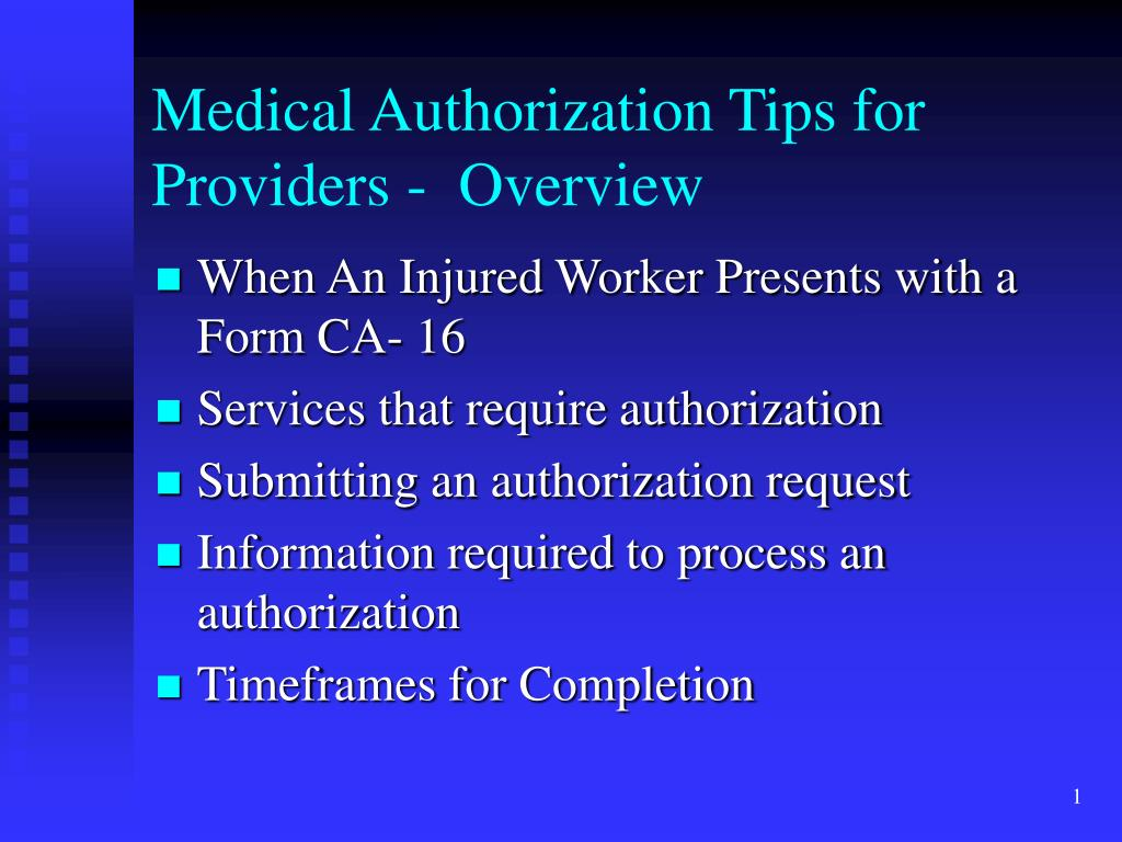 medical authorization tips for providers overview l.