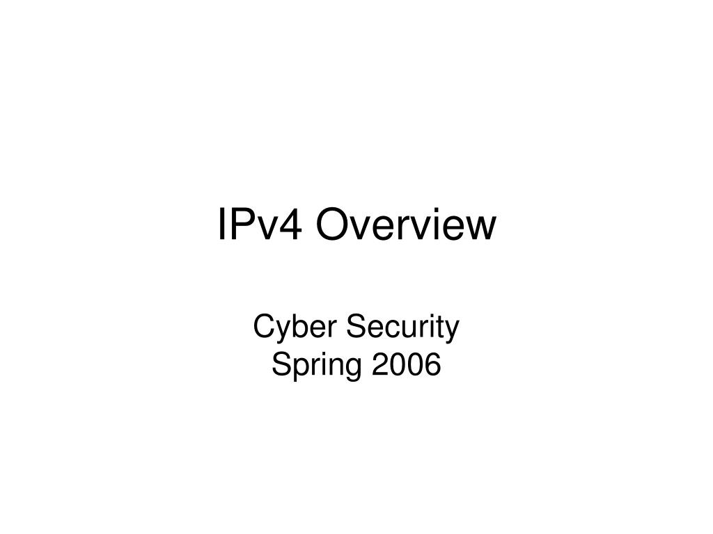 ipv4 overview l.