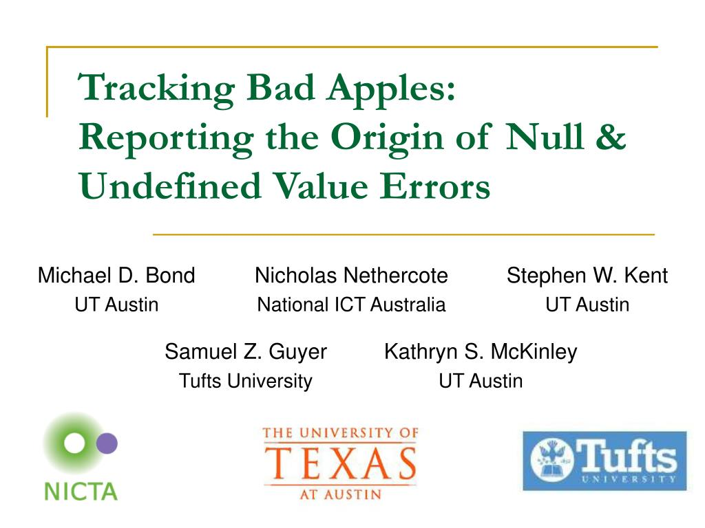 tracking bad apples reporting the origin of null undefined value errors l.
