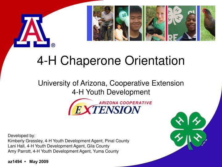 4 h chaperone orientation university of arizona cooperative extension 4 h youth development n.
