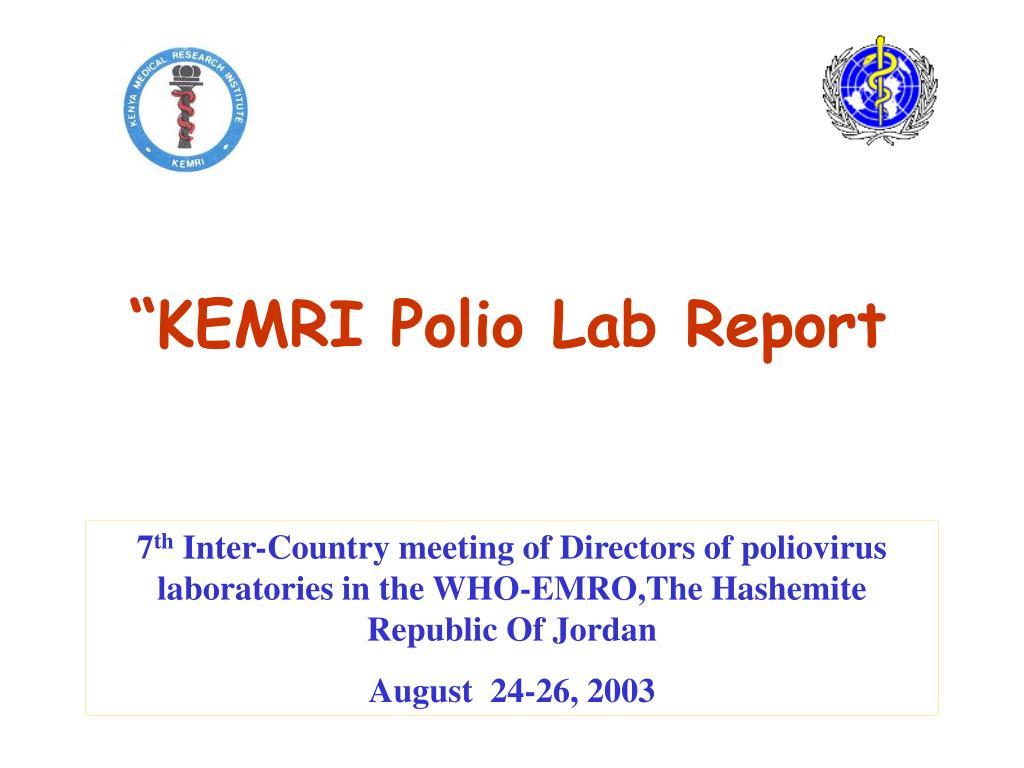 kemri polio lab report l.
