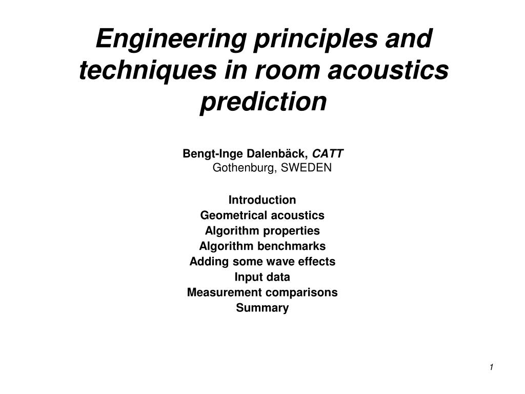 engineering principles and techniques in room acoustics prediction l.