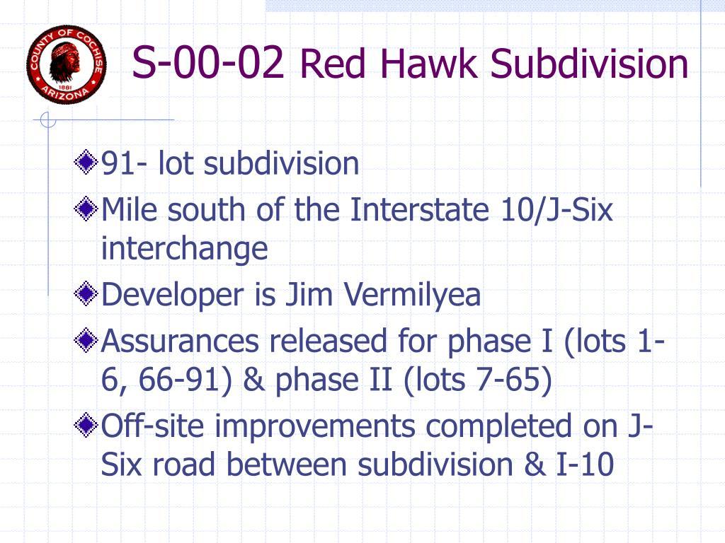 s 00 02 red hawk subdivision l.