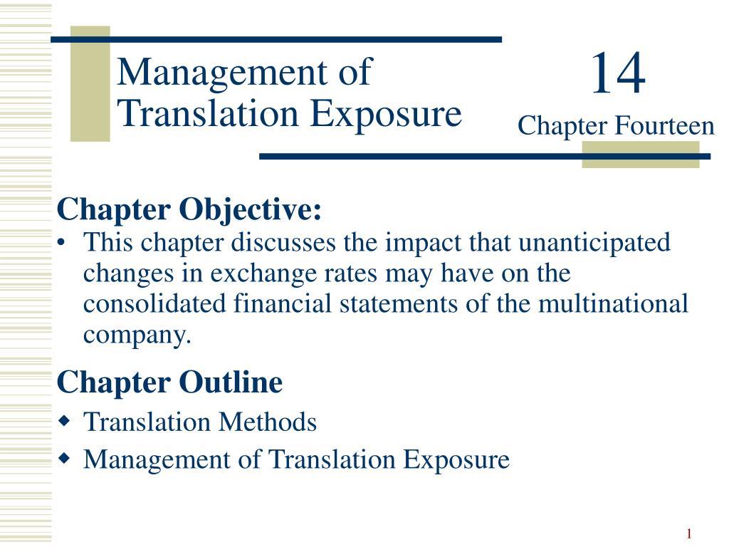 management of translation exposure l.