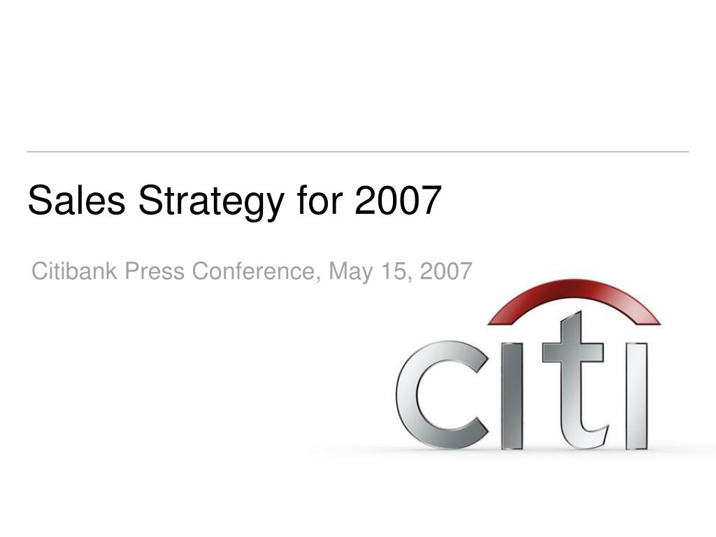 sales strategy for 2007 l.