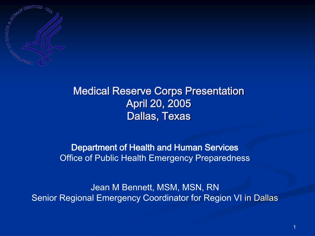 medical reserve corps presentation april 20 2005 dallas texas l.
