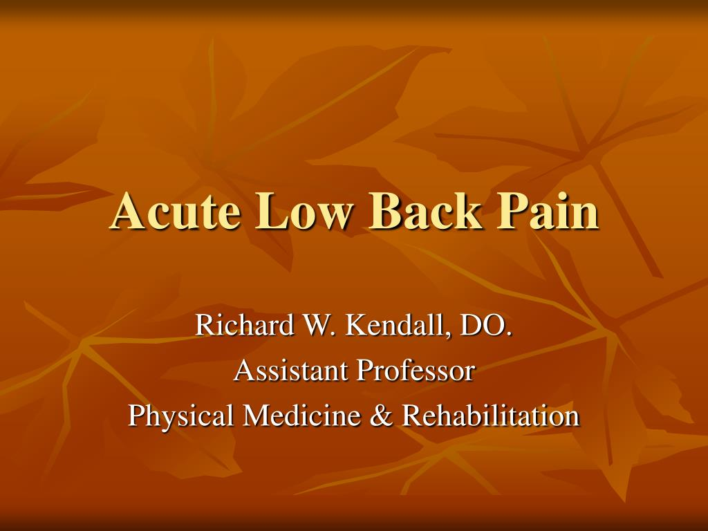acute low back pain l.