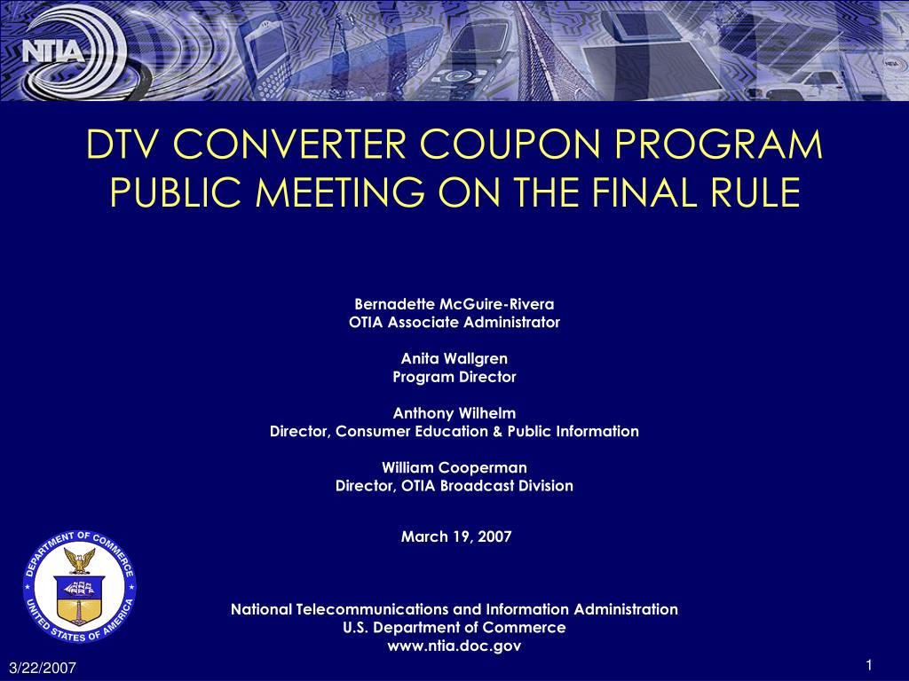 dtv converter coupon program public meeting on the final rule l.