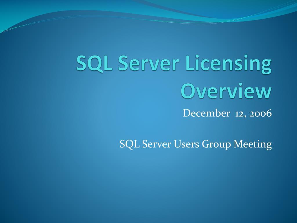 sql server licensing overview l.