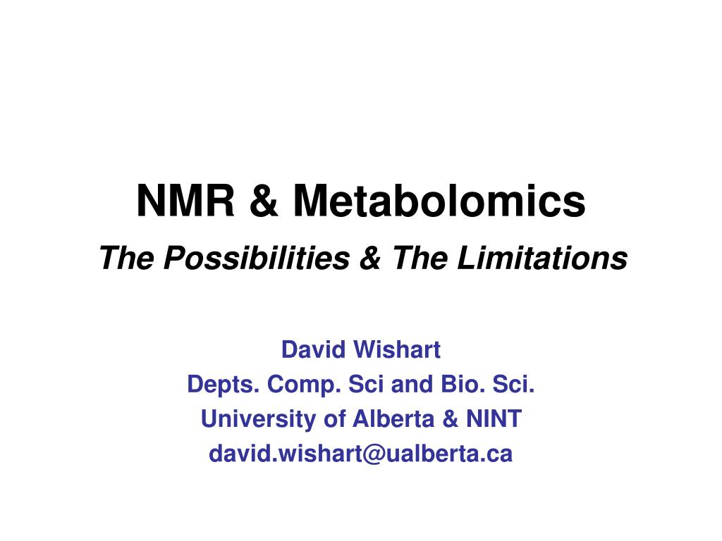 nmr metabolomics the possibilities the limitations l.