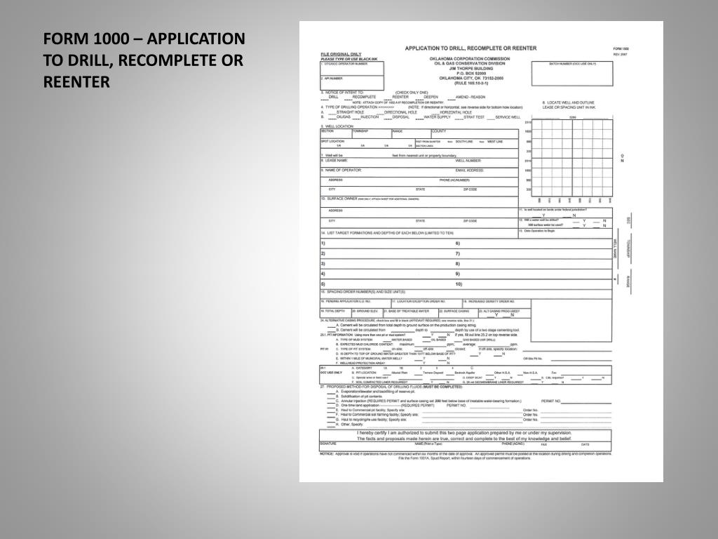 form 1000 application to drill recomplete or reenter l.
