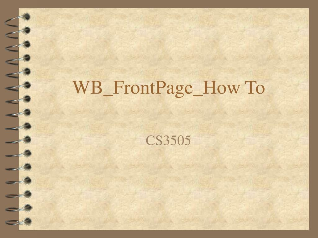 wb frontpage how to l.