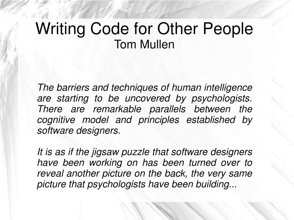 writing code for other people tom mullen l.