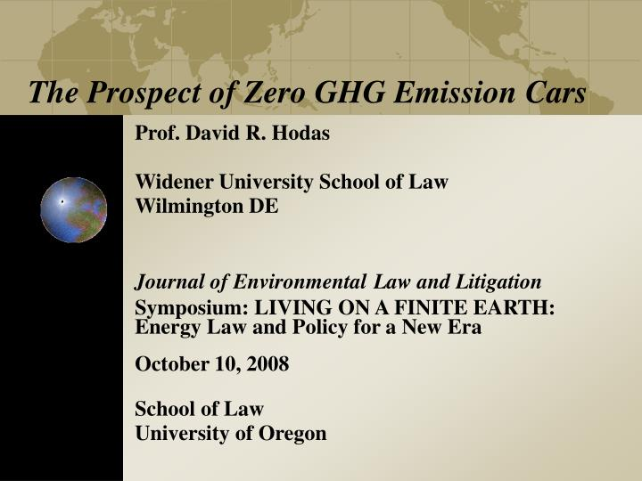 the prospect of zero ghg emission cars n.
