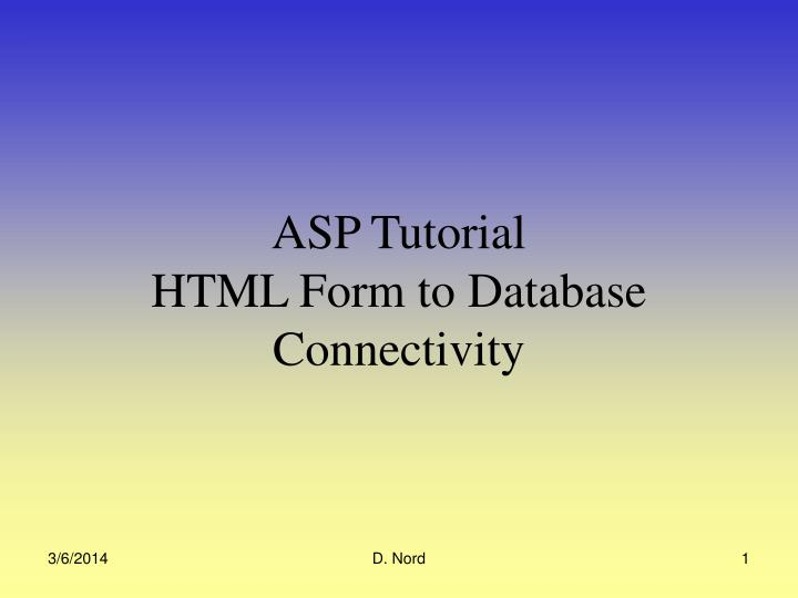 asp tutorial html form to database connectivity n.