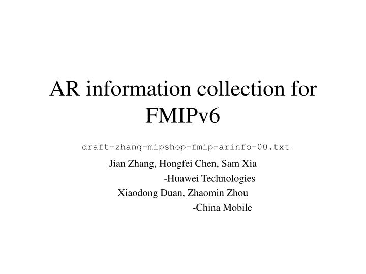 ar information collection for fmipv6 draft zhang mipshop fmip arinfo 00 txt n.