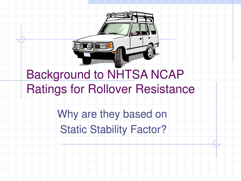 background to nhtsa ncap ratings for rollover resistance l.