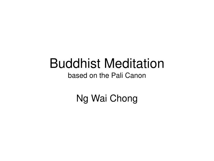 buddhist meditation based on the pali canon n.