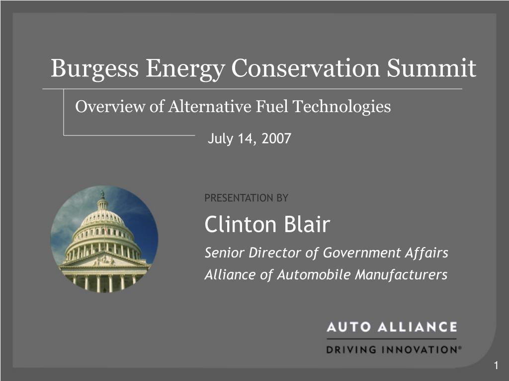 burgess energy conservation summit overview of alternative fuel technologies l.