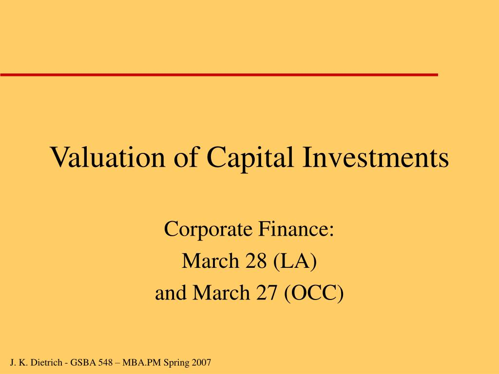 valuation of capital investments l.