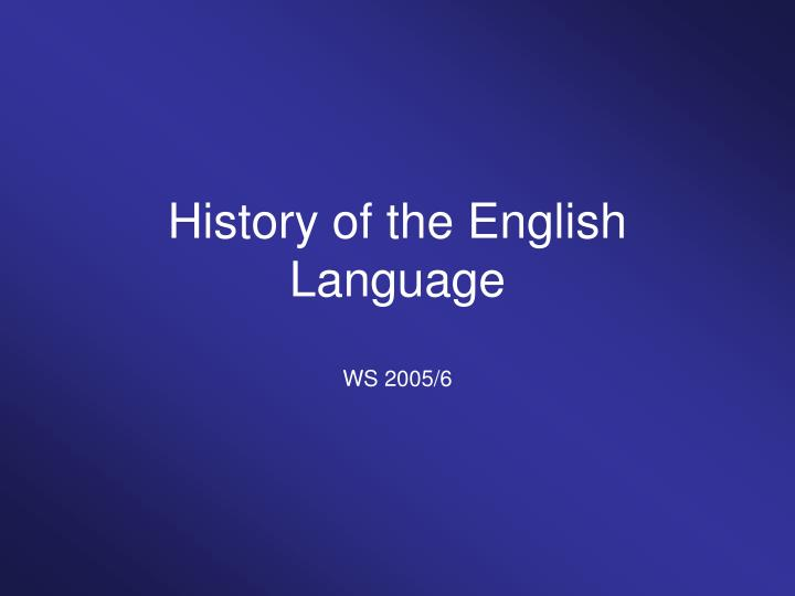history of the english language n.