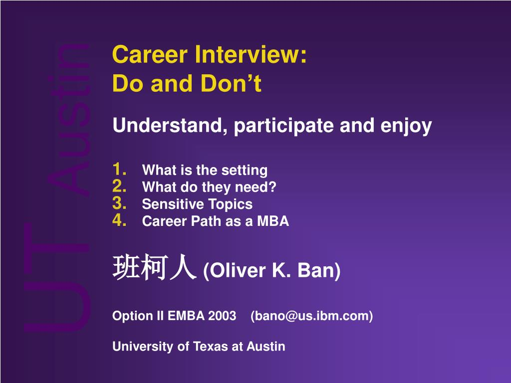 career interview do and don t l.