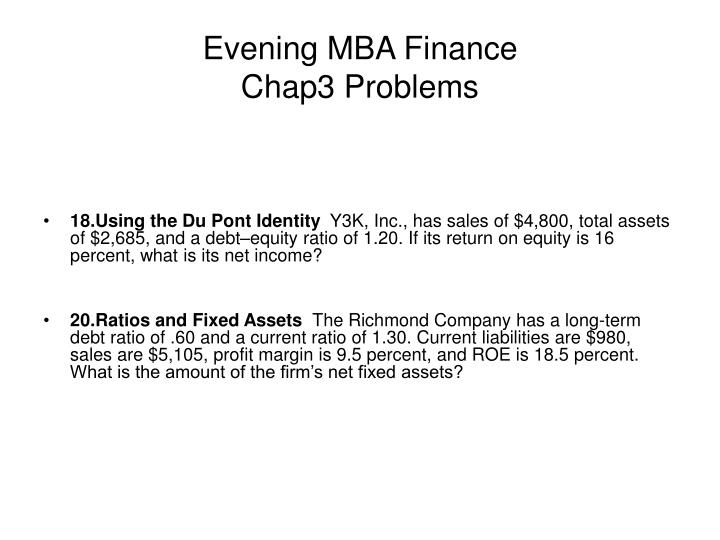 evening mba finance chap3 problems n.