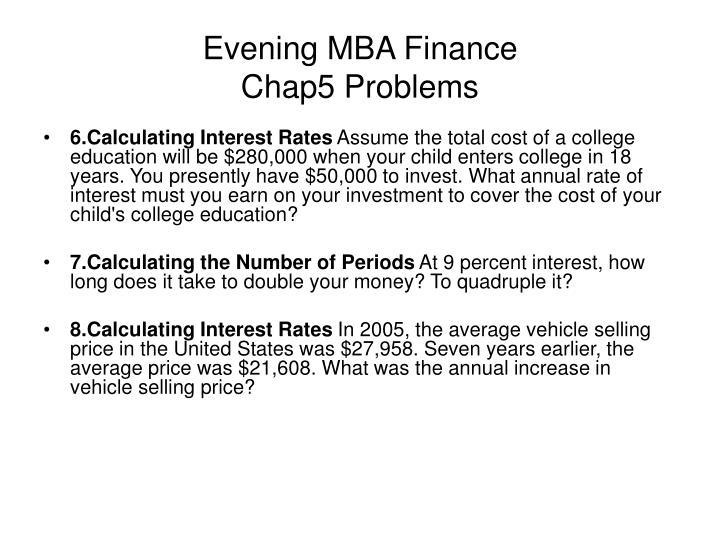 evening mba finance chap5 problems n.