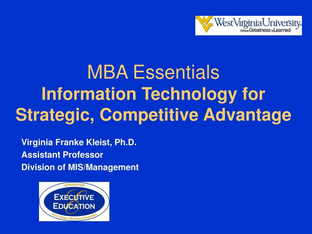 mba essentials information technology for strategic competitive advantage l.