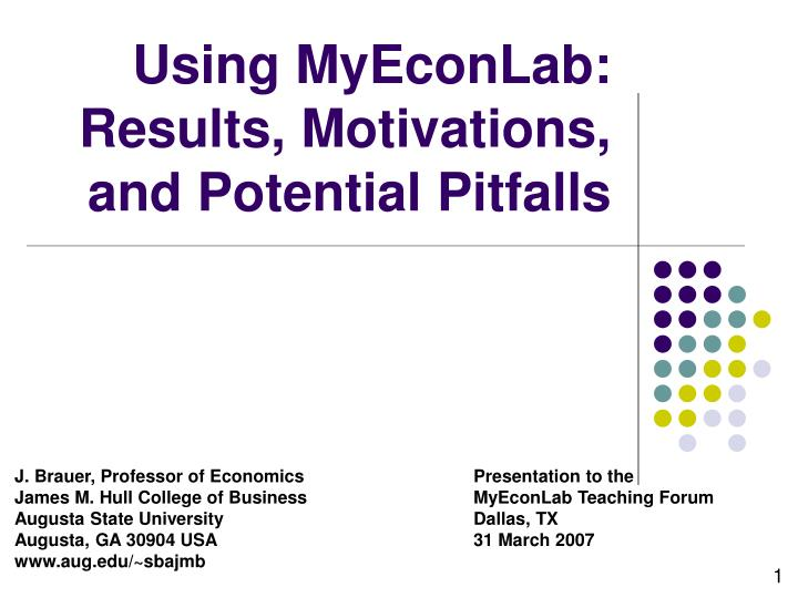 using myeconlab results motivations and potential pitfalls n.
