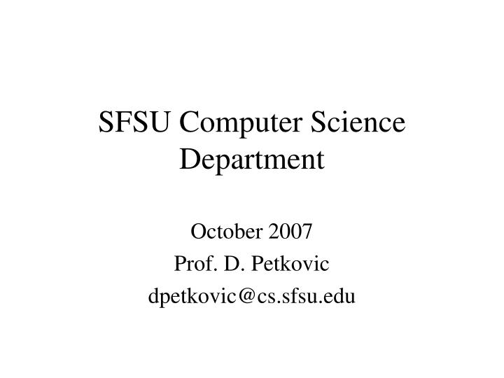 sfsu computer science department n.