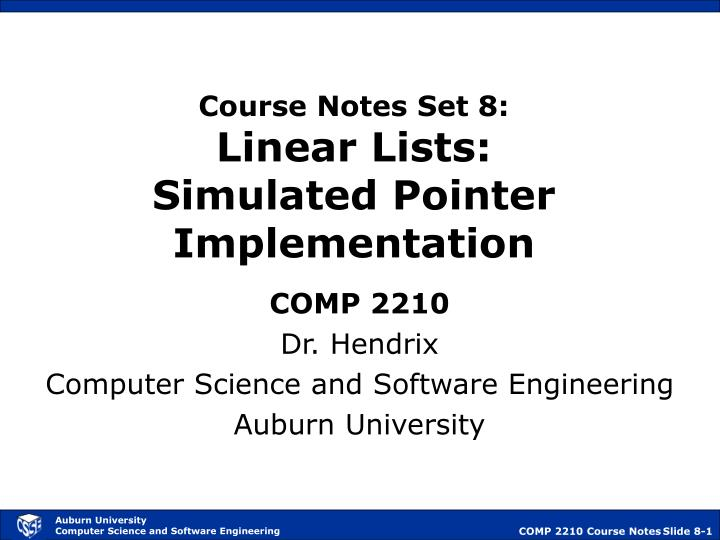 course notes set 8 linear lists simulated pointer implementation n.