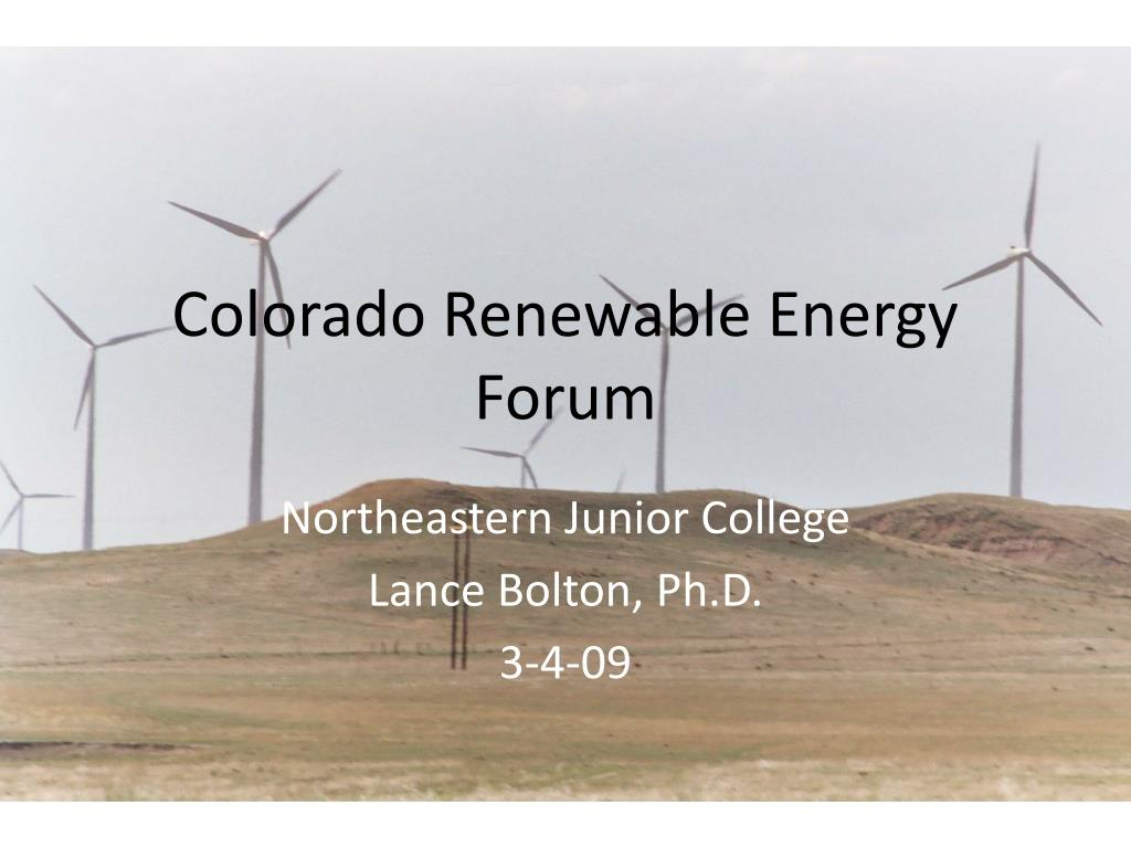 colorado renewable energy forum l.