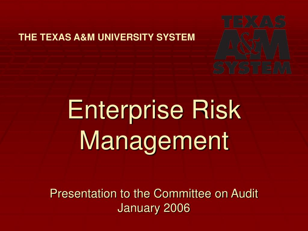 enterprise risk management presentation to the committee on audit january 2006 l.