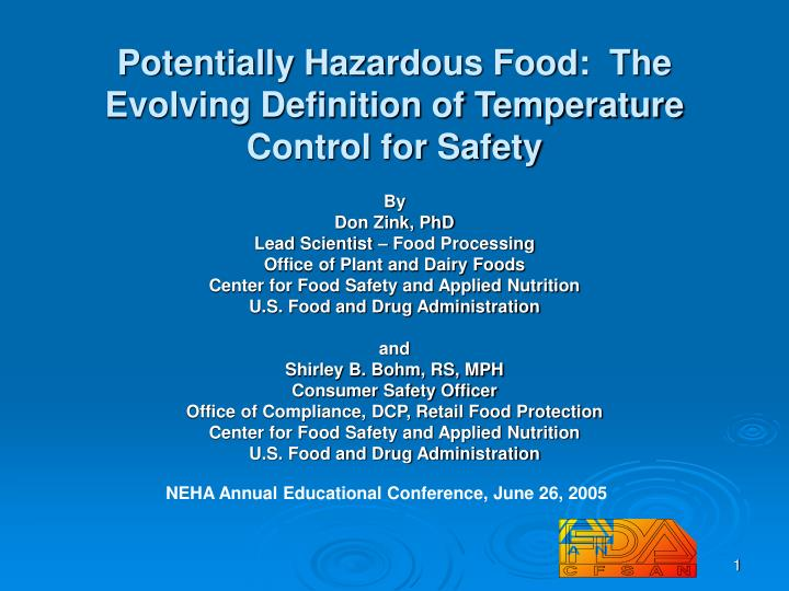 potentially hazardous food the evolving definition of temperature control for safety n.