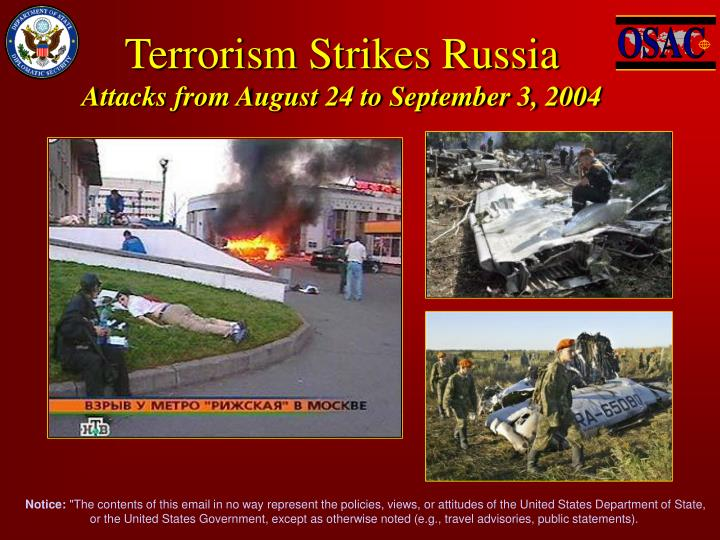 terrorism strikes russia attacks from august 24 to september 3 2004 n.