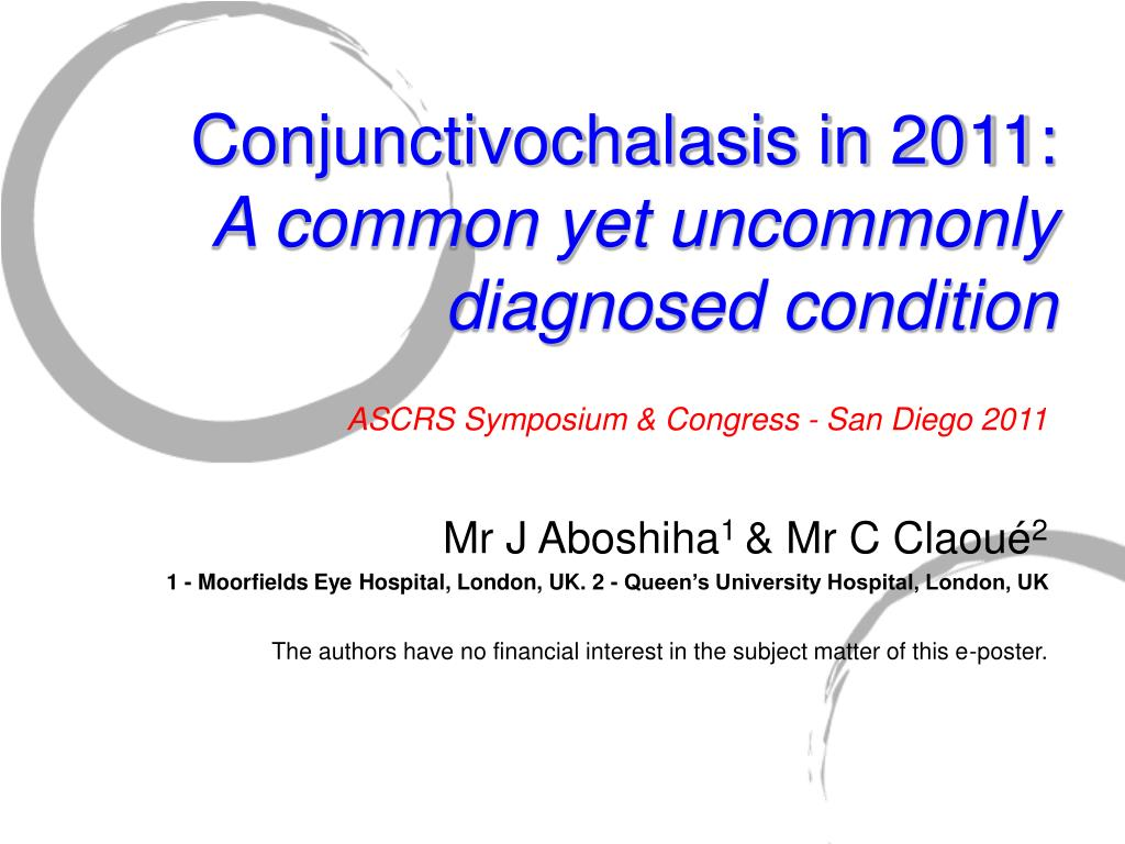 conjunctivochalasis in 2011 a common yet uncommonly diagnosed condition l.