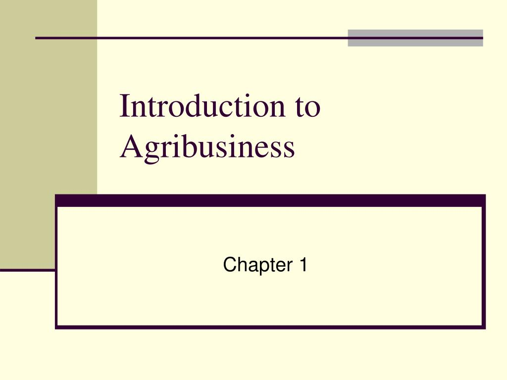 introduction to agribusiness l.