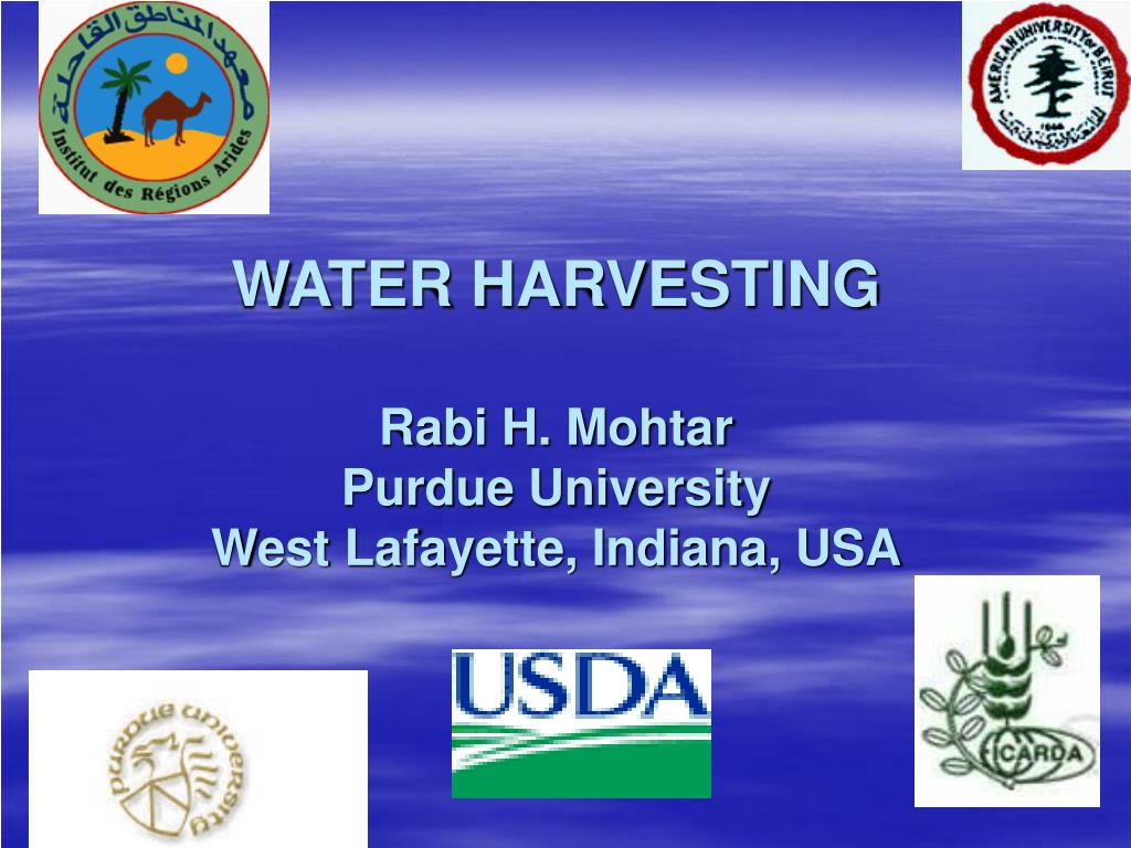 water harvesting rabi h mohtar purdue university west lafayette indiana usa l.