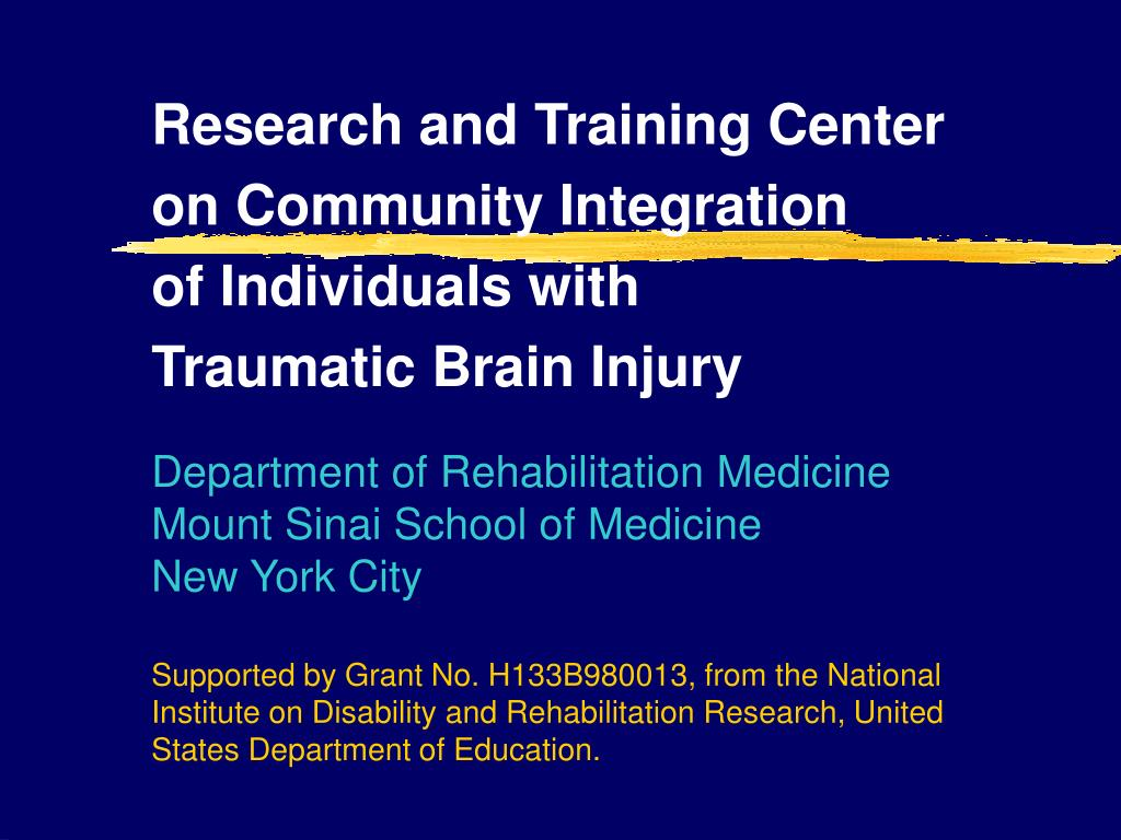 research and training center on community integration of individuals with traumatic brain injury l.
