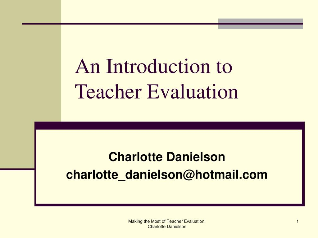 an introduction to teacher evaluation l.