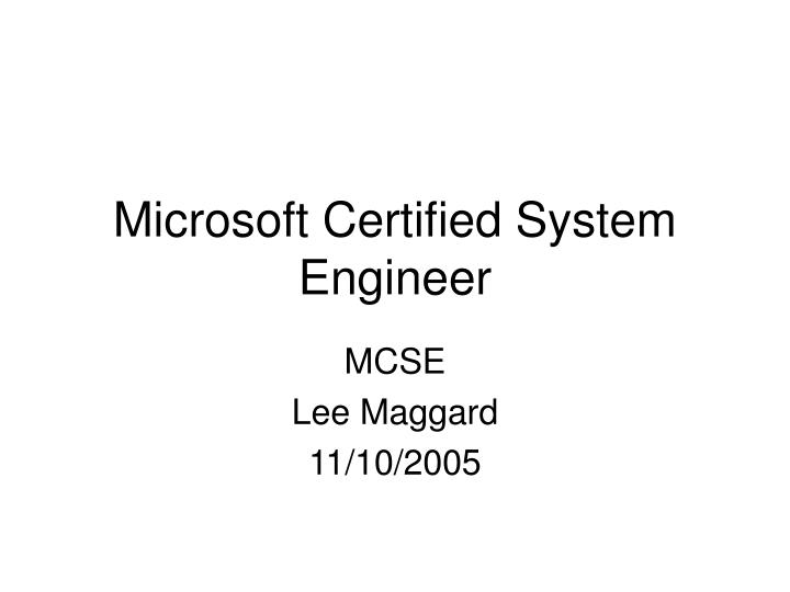microsoft certified system engineer n.
