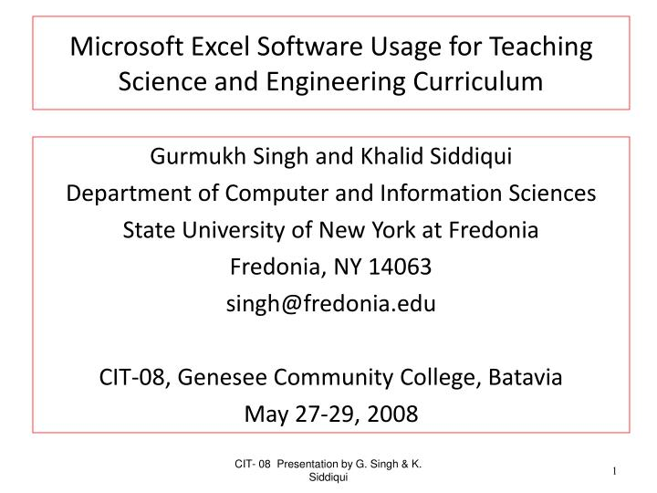 microsoft excel software usage for teaching science and engineering curriculum n.