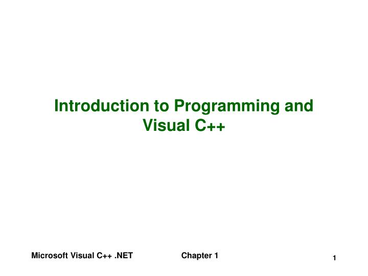 introduction to programming and visual c n.