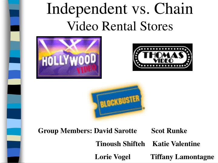 independent vs chain video rental stores n.