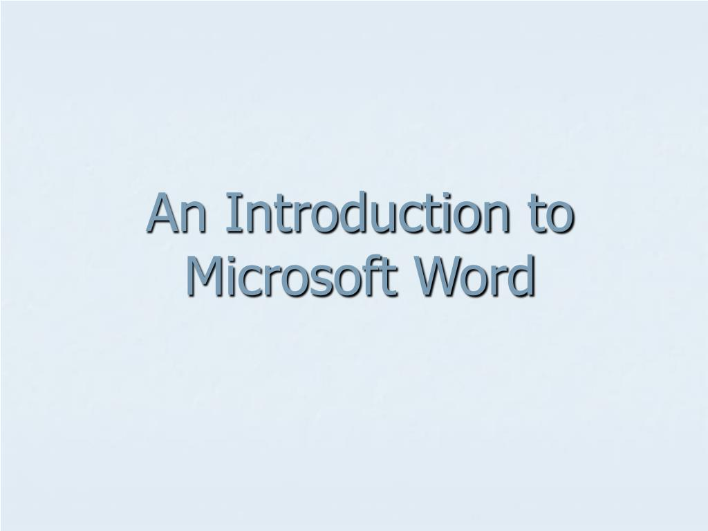 an introduction to microsoft word l.