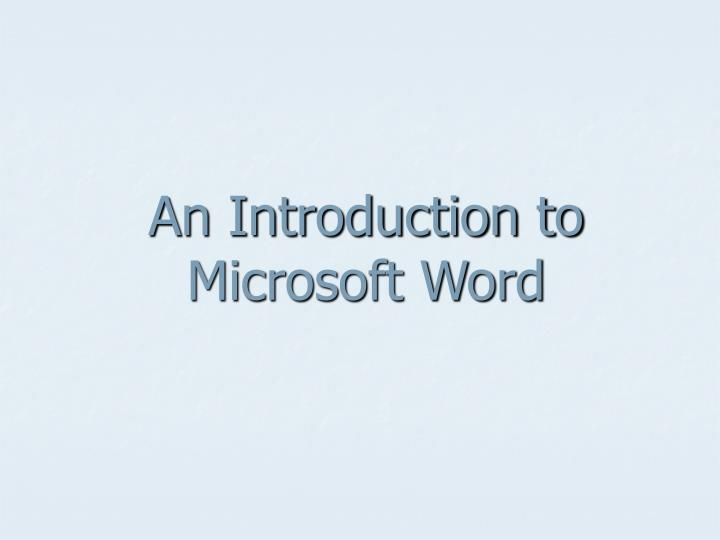 an introduction to microsoft word n.